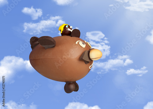 Chocolate airplane in the sky