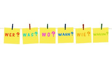 Gelbe Notizzettel: Die W-Fragen