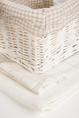 Kitchen towels and basket