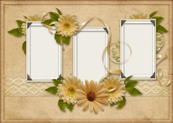 Vintage  background with photo-frames and gerbera