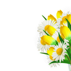 Bouquet of daisies and yellow tulips