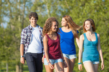 Group of Teenage Friends Walking at Park