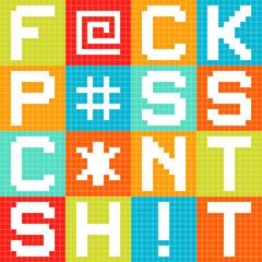 8-bit Pixel 4-Letter Swear Words in Squares