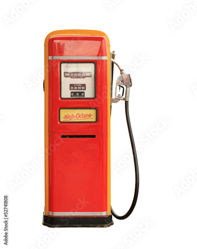 Vintage gasoline pump isolated on white background