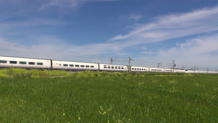 train over green field