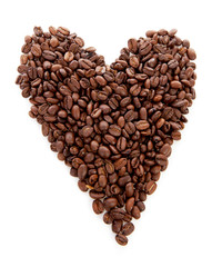 Heart shape made out of coffee beans