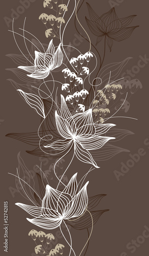 Tuinposter Abstract bloemen Seamless vector background, texture with flowers, floral pattern