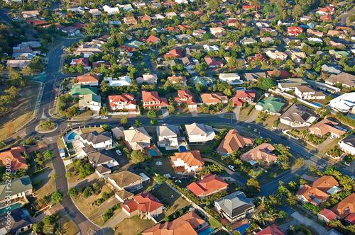 Poster Oceanië Aerial view of the suburbs roofs near Brisbane, Australia.
