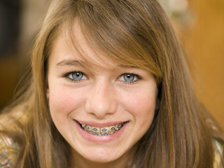 Close Up Smiling Girl  with Braces