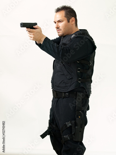 Military Man Pointing Gun