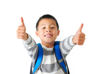 Boy Wearing School Backpack Two Thumbs Up