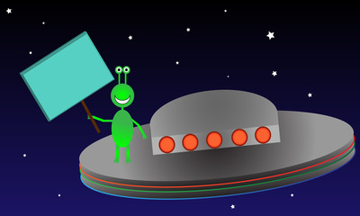 Alien in Space with blank Sign. All elements are separate.
