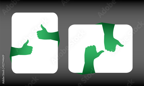 Like hand symbol set on white card