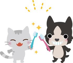 歯磨きをする猫と犬