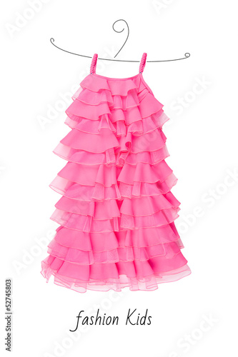 baby pink dress isolated on white background