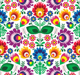 Fototapety Seamless traditional floral polish pattern - ethnic background