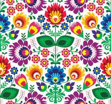 Powtarzalne wzór tradycyjnych kwiatów polski - pochodzenie etniczne