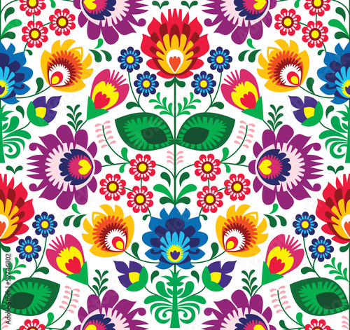 Sticker Seamless traditional floral polish pattern - ethnic background