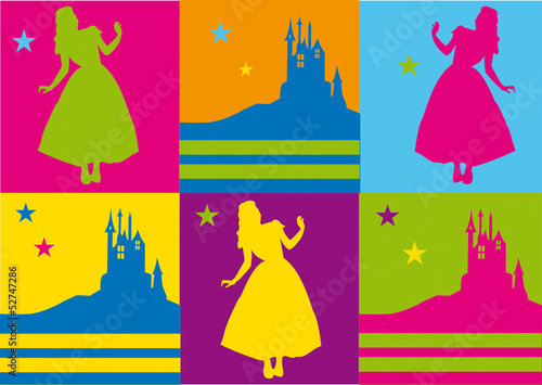 pop art,warhol,fluo,flashy,carte,invitation,princesse,château