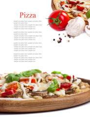 Vegetarian pizza with peppers, mushrooms, tomatoes, olives and b