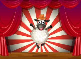 A stage with a sheep jumping at the center