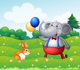 A rabbit and an elephant with balloons