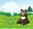 A brown bear sitting in the garden