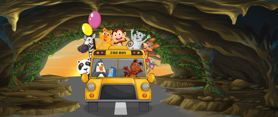 A bus full of animals inside the cave