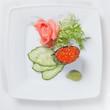 Sushi on plate isolated on white