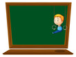 An empty blackboard with a boy hanging
