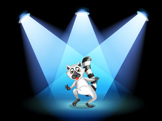 A stage with a dancing lemur