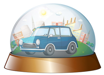 A dome with a blue car
