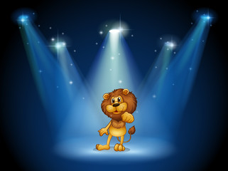 A stage with a brown lion at the center