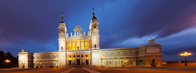 Night panorama of  Almudena is Catholic cathedral in Madrid