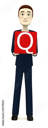 3d render of businessman with letter Q