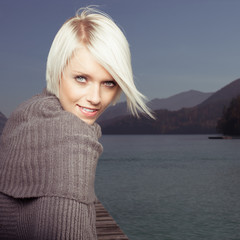 Beauty portrait of beautiful blond woman