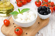 fresh mozzarella, olives and cherry tomatoes