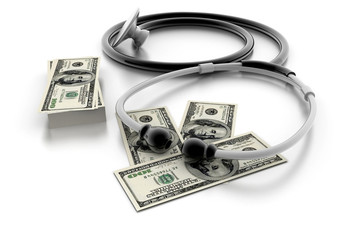 medical stethoscope and dollars