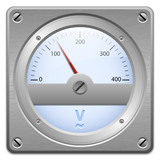 Analog voltmeter on metal plate, vector illustration