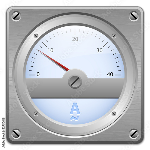 Analog ammeter on metal plate, vector illustration