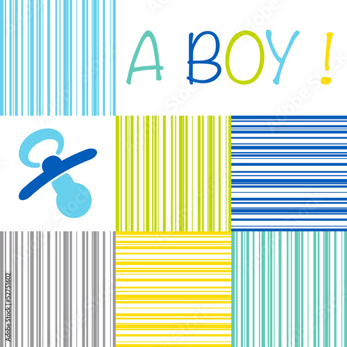 Baby newborn birth announcement card boy with a dummy on a strip