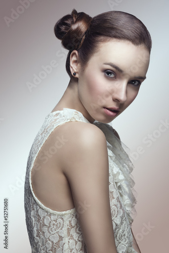 cute woman with elegant hair-style