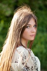 Beautiful girl with long dark hair