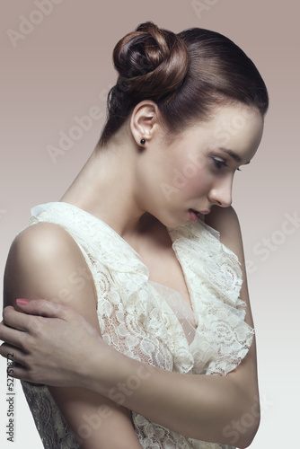 fashion girl in romantic pose