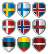 Shield Flags metallic Scandinavia Baltic
