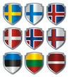 Shield Flags metallic Scandinavia Baltic