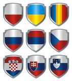 Shield Flags metallic Eastern Europe poster