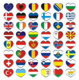 Europe Flags hearts