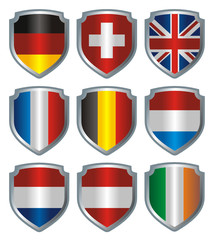 Shield Flags metallic Central Europe
