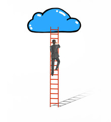 businessman climbing on ladder